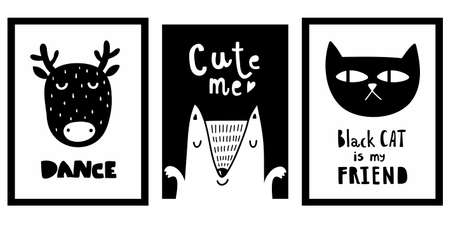 Scandinavian funny posters with doodle characters and lettering. Cool decor in baby boy room in trendy nordic style. Vector black and white illustration.