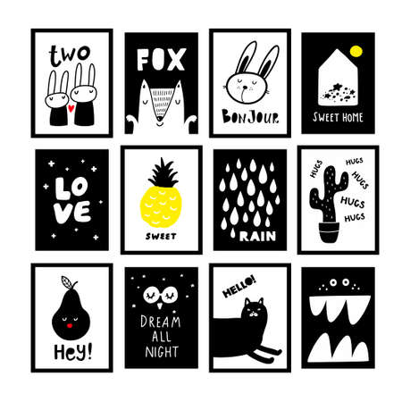 Set of black and white prints and posters for room decor. Baby and kids decoration of walls in modern scandinavian style. Иллюстрация