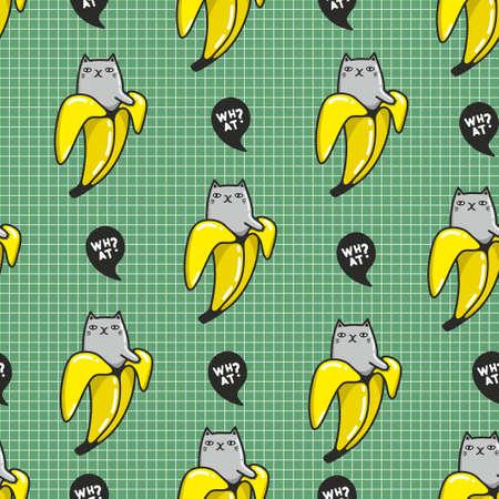 Funny little cat in banana seamless pattern for prt lovers. Ilustração