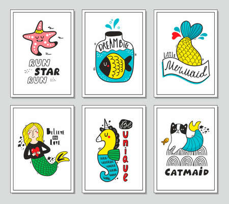 Set of greeting and post cards with fantastic creatures from the sea. Vector illustrations for cool prints in children room or nursery decor.
