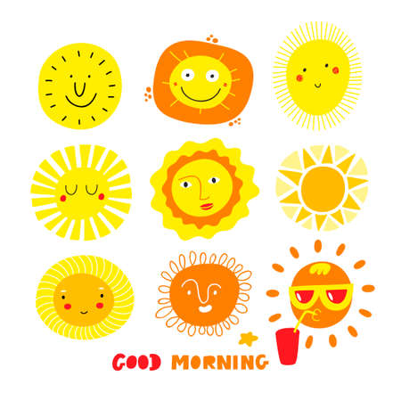 Cute sun faces set isolated on white background. Funny cartoons for decorating and modern surface design.