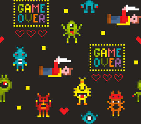 Pixel art seamless pattern with retro video game characters.