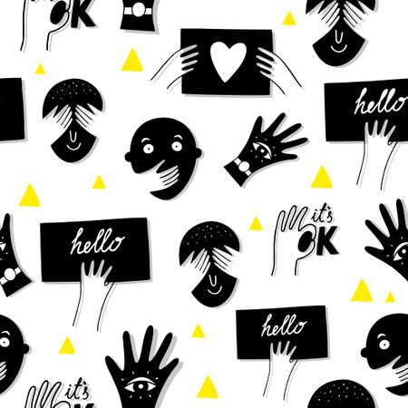 Funnymale faces seamless pattern in black and white colors.