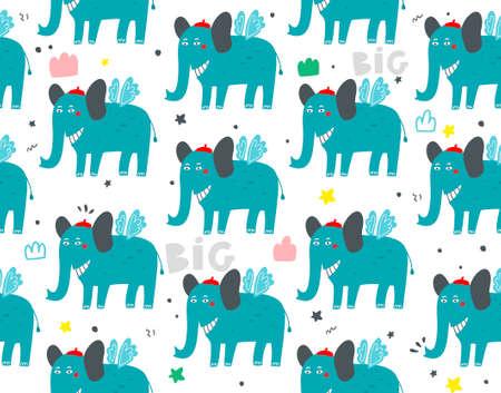 Seamless illustration with funny elephants on white background. Ilustração