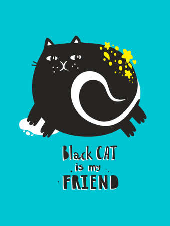 Poster with fat black cat for wall decor.