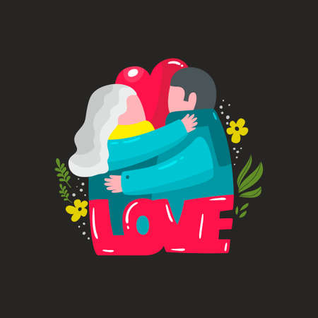 Lovely illustration with couple of man and woman in hug. Vector print for postcard, tshirt or wall art decor. Ilustração