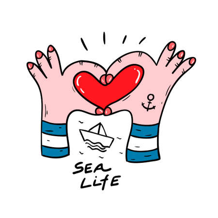 Two arms fingers making heart symbol. Funny vector illustration in doodle.