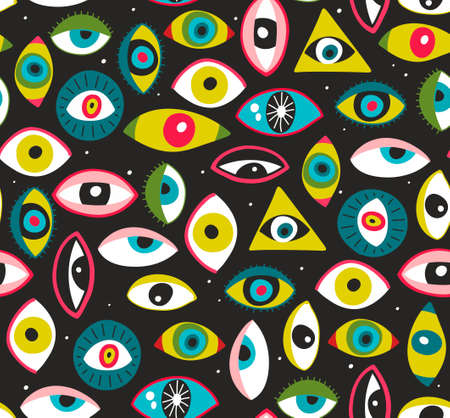 Seamless pattern with human eyes. Vector art.