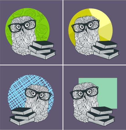 Set of cute owls in glasses with modern books. Ilustração