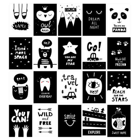 Big set of scandinavian design posters. Black and white cards with cute vector animal characters,nordic prints for postcards and wall decor prints. Modern baby room decoration. Ilustração