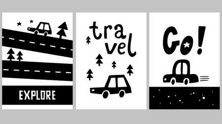Set of scandinavian style posters for little travellers. Monochrome cars, trees and roads for printing on postcards or wall art. Ilustração