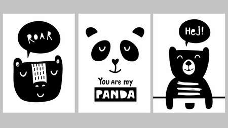 Cute black and white scandinavian prints for moden wall decor in baby room. Vector set of funny bears and panda illustrations.