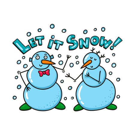 Cute snowmen for season greetings card or poster. Vector illustration of fun in winter time.
