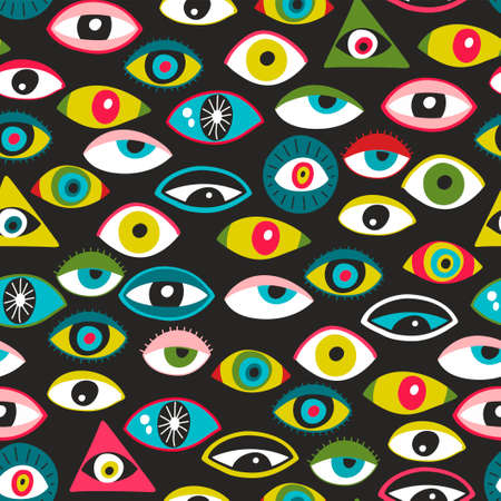 Colorful eyes of people seamless patten. Vector art.