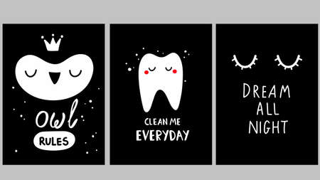 Cute black and white posters in girls room with funny characters. Simple trendy illustrations for wall decorating. Ilustração
