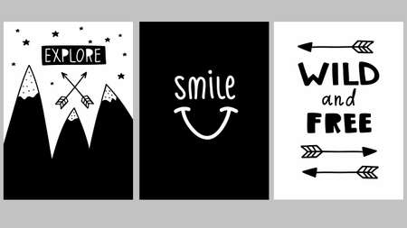 Cool set of black and white posters in children room. Vector illustrations in modern scandinavian style.
