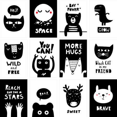 Ensemble d'affiches scandinaves noir et blanc pour chambre d'enfant moderne. Collection vectorielle d'impressions monochromes avec des animaux mignons.