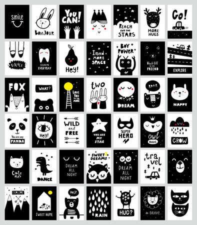 Big set of monochrome black and white posters in scandinavian style. Good prints for children and baby wall art.