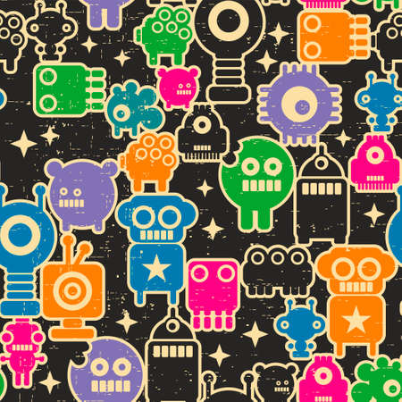Seamless pattern with robots and monsters in retro pixel style. Computer game background, Vector endless wallpaper for children. Ilustração