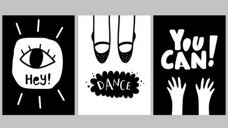 Scandinavian posters with body parts. Black and white cards of simple graphic and lettering.