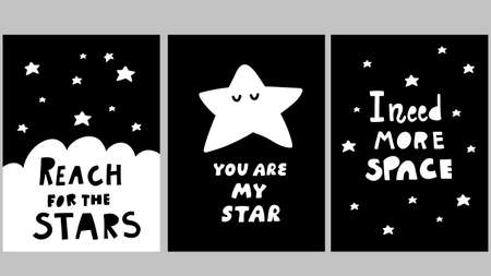 Space posters in black and white scandinavian style. Vector illustrations for modern wall art in children room. Ilustração