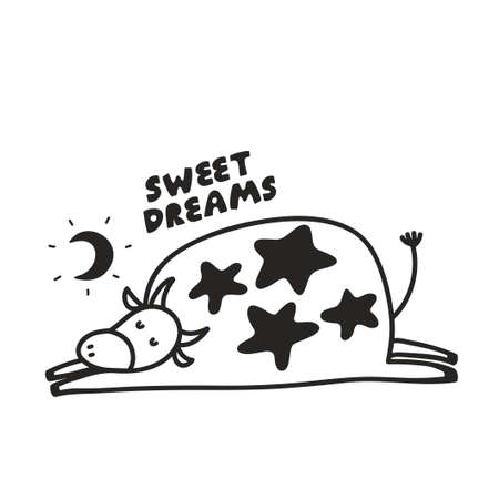 Funny poster with sleeping cow under the moon. Vector black and white illustration in doodle style for print in children book, wall art, t-shirt drawing. Ilustração