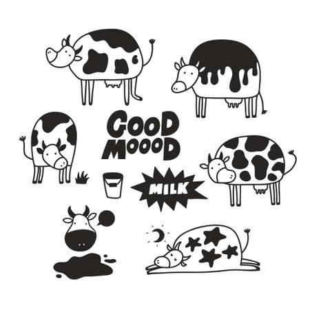 Set of funny cow animals in children doodle style. Vector illustration with black and white characters for poster or print. Ilustração