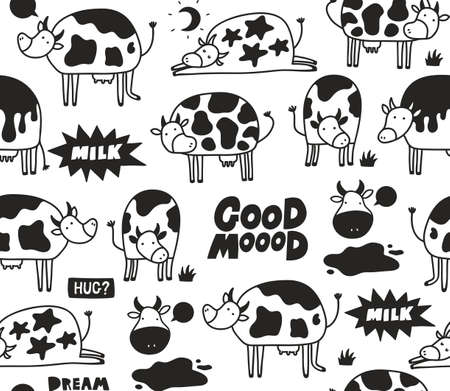 Black and white cow skin seamless patten with doodle animals. Vector endless illustration.