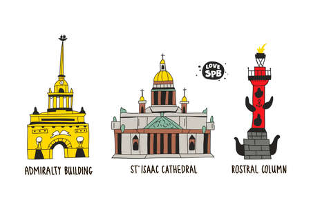 Collection of famous buildings in Saint-Petersburg, Russia. Vector print for postcard or poster.