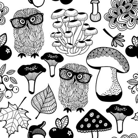 Seamless pattern of summer forest with owls and mushrooms.