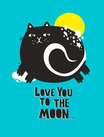 Cute cat poster in baby room. Vector art for children. Ilustração