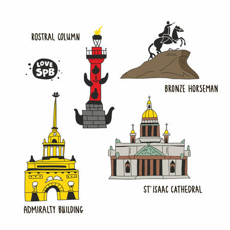 Admiralty building, bronze horseman, saint isaac cathedral and rostral column from Saint Petersburg. Hand drawn style of isolated buildings. Souvenirs illustration from Russia. Ilustração