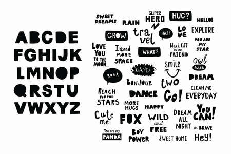 Set of lettering phrases for scandinavian nursery decor. Vector grahic elements and alphabet poster.