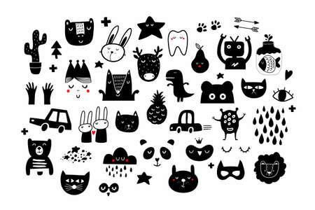 Big set of black and white images in scandinavian style. Ilustração