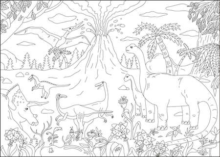 Big coloring page for children with dinosaur and ancient nature. Black and white vector illustration. Hand drawn background.