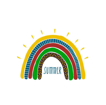 Creative rainbow illustration in hand drawn style. Colorful print with doodle lettering. Summer time print for children.