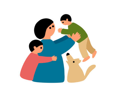 Happy mother with two children and cute pet dog.