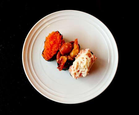 sushi set: Three Sushi set on white plate.