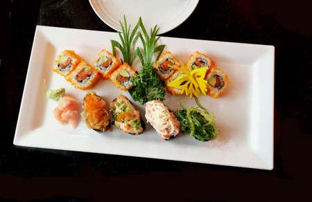 sushi set: Sushi set on white plate.
