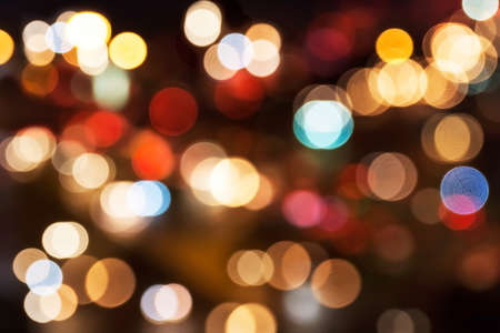 Sparkling and vivid  blur Bokeh Background from traffic light. Stock Photo