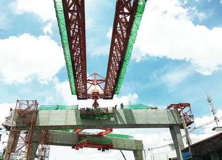 precast: Construction Site of overpass Expressway concrete beam installation.