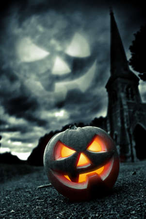 scary pumpkin: halloween Stock Photo