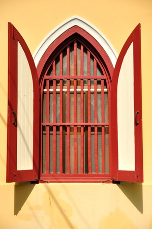 Temple red windows Stock Photo - 17664211