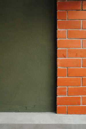 Red brick and green dark wall Stock Photo - 20942453