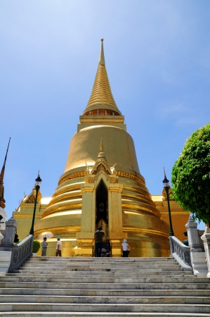 Gold Pagoda in Prakeaw temple, located in Thailand