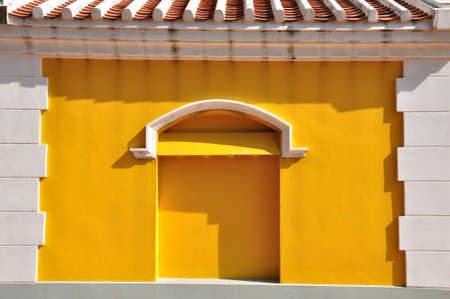 White brick frame with yellow wall European style Stock Photo - 21195928