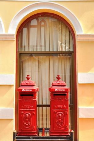 Twin Thai antique post boxes, Ayutthaya Stock Photo - 21195932