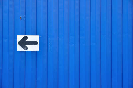Blue container with the arrow sign  photo