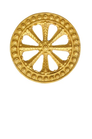 Wheel of law, Dharma isolated on white background, clipping path included