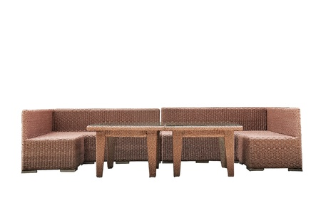 Rattan sofa set isolated on white background, clipping path included  photo